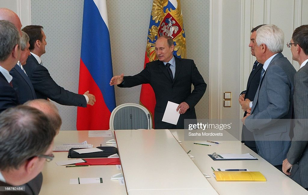 Russian President <a gi-track='captionPersonalityLinkClicked' href=/galleries/search?phrase=Vladimir+Putin&family=editorial&specificpeople=154896 ng-click='$event.stopPropagation()'>Vladimir Putin</a> (C) arrives to the meeting with State Duma and parties leaders at Bocharov Ruchey state residence on May 15, 2013 in Sochi, Russia. Putin also met with Vietnam's Prime Minister Nguyen Tan Dung and held talks regarding bilateral cooperation between the two nations in oil and gas, technologies and tourism.