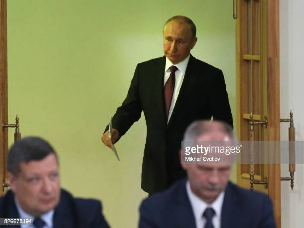 Russian President Vladimir Putin arrives to the Presidential Council on Development of Local Government on August 5 2017 in Kirov Russia Vladimir...