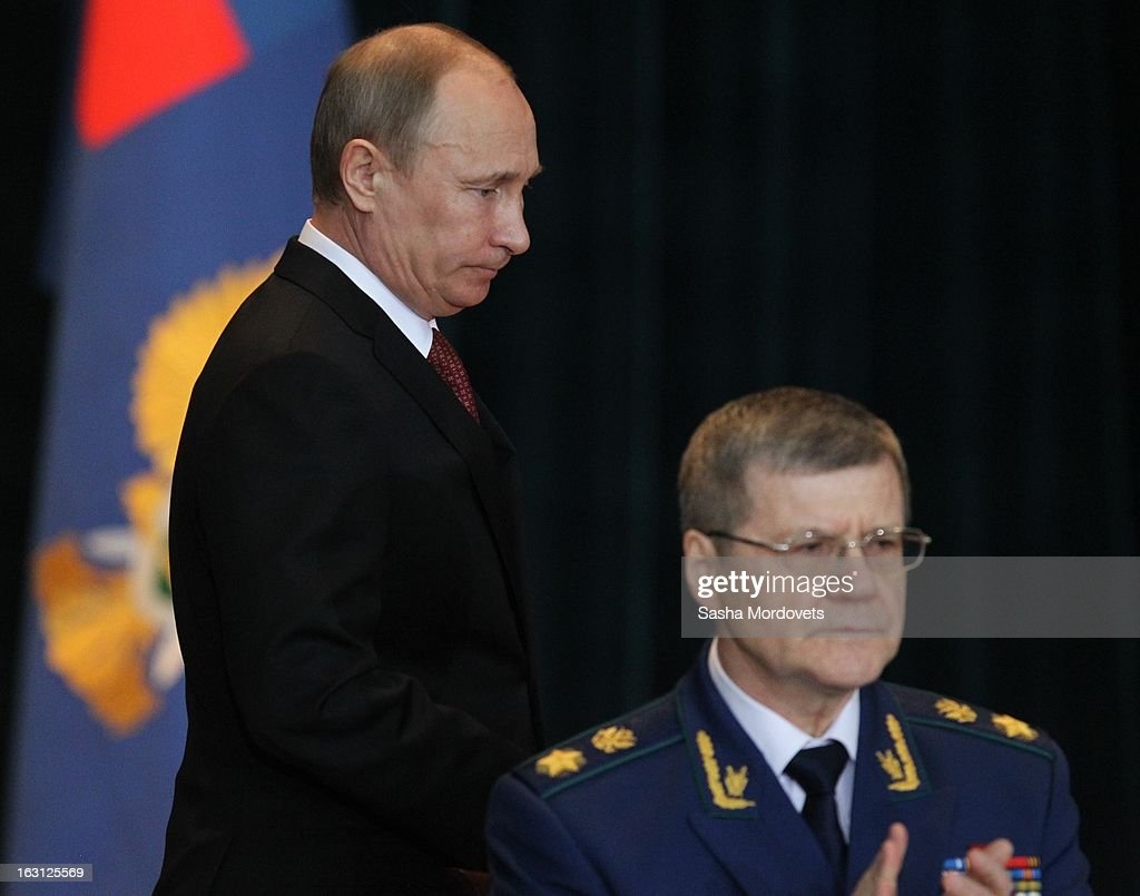 Russian President <a gi-track='captionPersonalityLinkClicked' href=/galleries/search?phrase=Vladimir+Putin&family=editorial&specificpeople=154896 ng-click='$event.stopPropagation()'>Vladimir Putin</a> arrives with General Prosecutor Yuri Chaika as they meet with General Prosecutors office on March 5 ,2013 in Moscow, Russia. Putin delivered his annual speech to prosecutors.