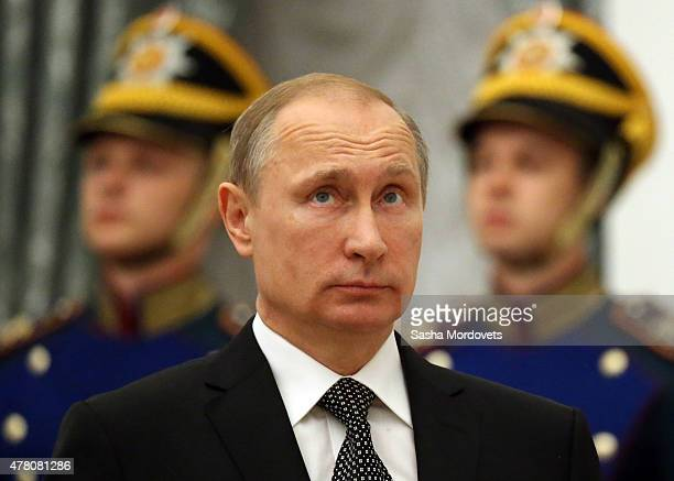 Russian President Vladimir Putin attends a ceremony to confer the 'City of Military Glory' title to five Russian towns at the Kremlin on June 22 2015...