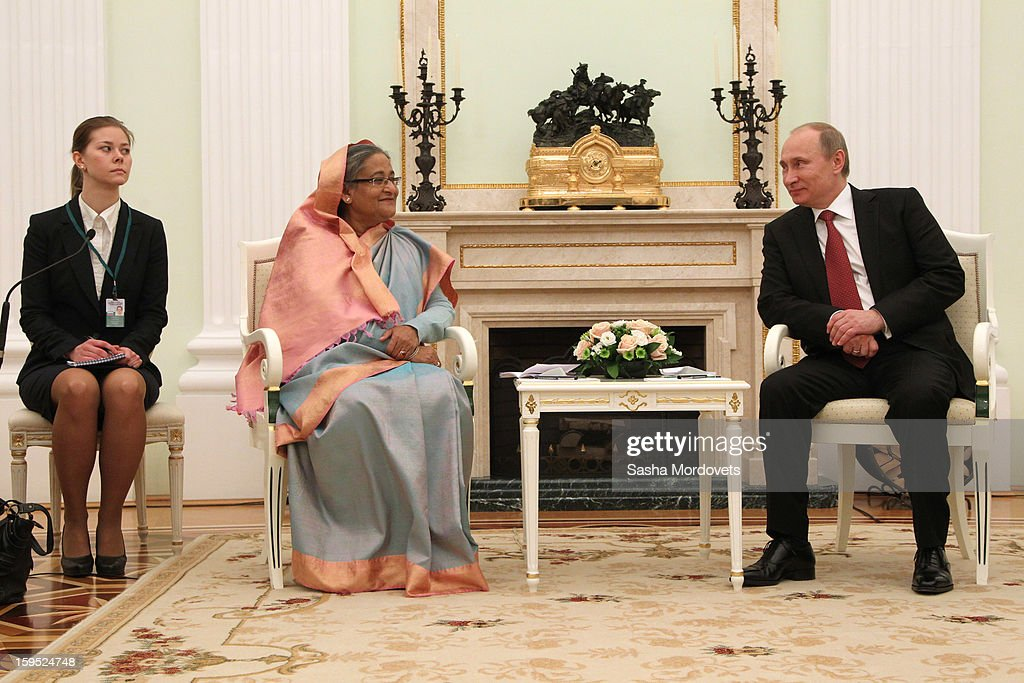 Russian President Vladimir Putin (R) attends a meeting with Bangladesh's Prime Minister Sheikh Hasina at the Kremlin, on January 15, 2013 in Moscow, Russia. During Hasina's three day state visit to Russia she will sign defence and nuclear energy agreements, including a deal to help fund construction of Bangladesh's first nuclear power plant.