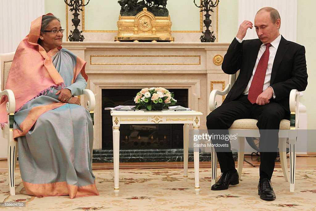 Russian President <a gi-track='captionPersonalityLinkClicked' href=/galleries/search?phrase=Vladimir+Putin&family=editorial&specificpeople=154896 ng-click='$event.stopPropagation()'>Vladimir Putin</a> (R) attends a meeting with Bangladesh's Prime Minister Sheikh Hasina at the Kremlin, on January 15, 2013 in Moscow, Russia. During Hasina's three day state visit to Russia she will sign defence and nuclear energy agreements, including a deal to help fund construction of Bangladesh's first nuclear power plant.