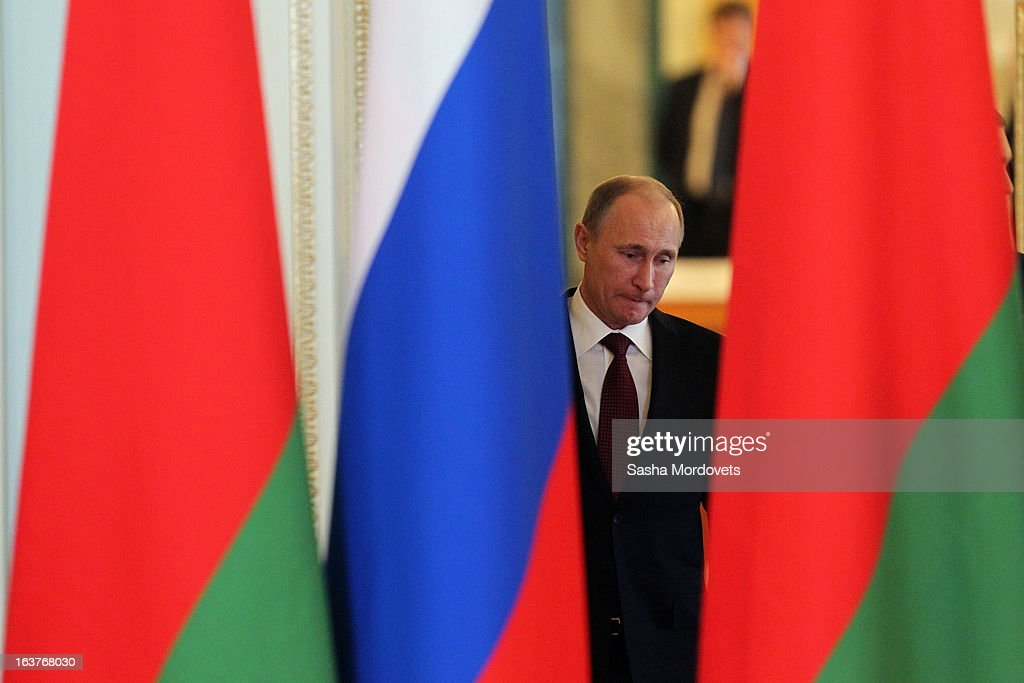 Russian President Vladimir Putin attends a meeting with Belarusian President Alexander Lukashenko at Konstantinovsky Palace on March 15, 2013 in Saint Petersburg, Russia. Putin and Lukashenko met as part of the Union State's Supreme State Council summit.