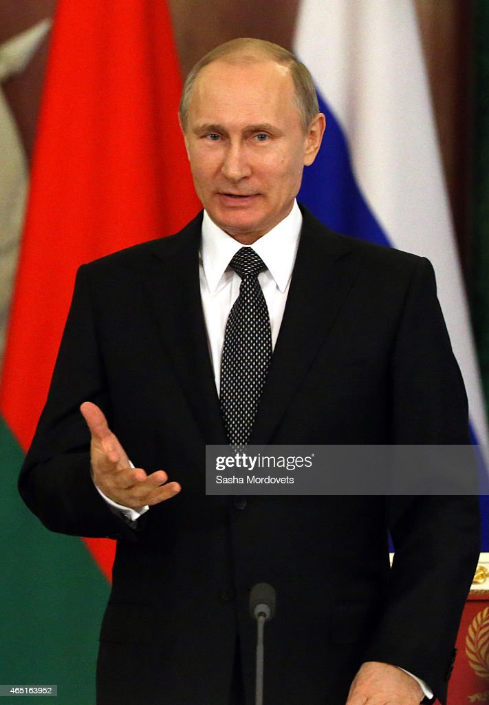 Russian President Vladimir Putin attends a meeting with Belarussian President Alexander Lukashenko in the Grand Kremlin Palace, March 3, 2015 in Moscow, Russia. Lukashenko is visiting Moscow to participate in the Russian-Belarussian State Council.