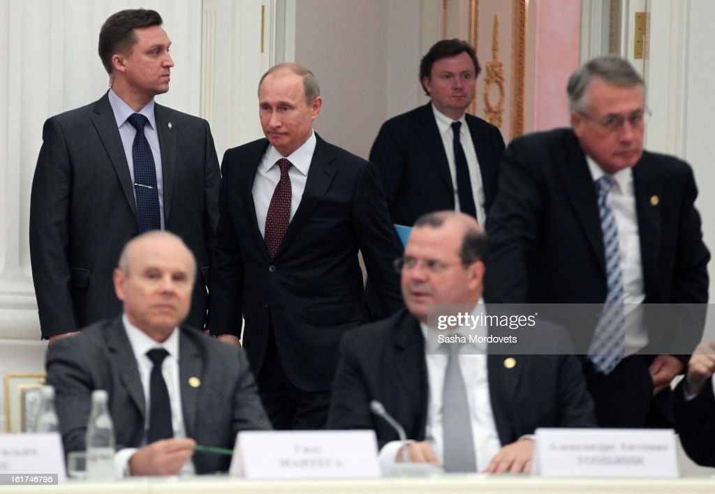 Russian President Vladimir Putin (3rd R) attends a meeting with G20 finance leaders in the Kremlin February 15, 2013 in Moscow, Russia. The G20 countries, that make up 90 percent of the worlds gross domestic product, is reportedly set to be dominated by the issue of counties using their currency fro economic gain over the weekend of meetings.