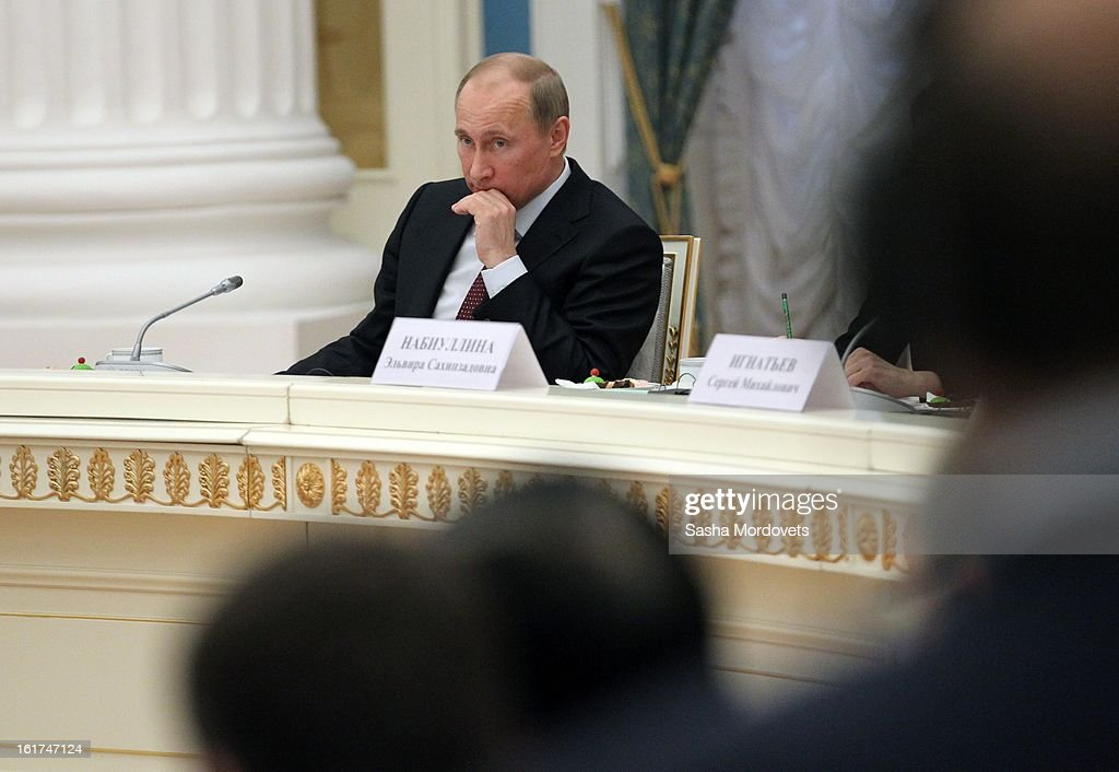 Russian President <a gi-track='captionPersonalityLinkClicked' href=/galleries/search?phrase=Vladimir+Putin&family=editorial&specificpeople=154896 ng-click='$event.stopPropagation()'>Vladimir Putin</a> (3rd R) attends a meeting with G20 finance leaders in the Kremlin February 15, 2013 in Moscow, Russia. The G20 countries, that make up 90 percent of the worlds gross domestic product, is reportedly set to be dominated by the issue of counties using their currency fro economic gain over the weekend of meetings.