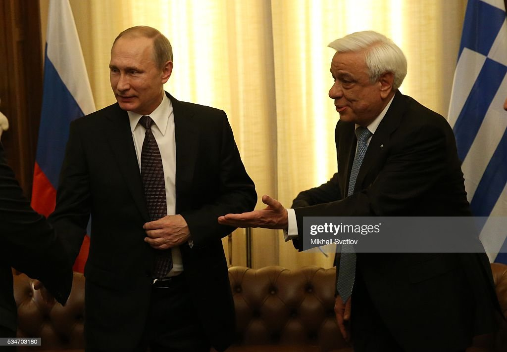 Russian President <a gi-track='captionPersonalityLinkClicked' href=/galleries/search?phrase=Vladimir+Putin&family=editorial&specificpeople=154896 ng-click='$event.stopPropagation()'>Vladimir Putin</a> (L) attends a meeting with Greek President Prokopis Pavlopoulos (R) in Athens, Greece, May 27, 2016. <a gi-track='captionPersonalityLinkClicked' href=/galleries/search?phrase=Vladimir+Putin&family=editorial&specificpeople=154896 ng-click='$event.stopPropagation()'>Vladimir Putin</a> is having a state visit to Greece.
