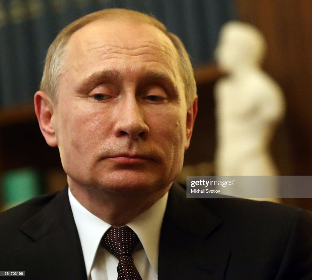 Russian President <a gi-track='captionPersonalityLinkClicked' href=/galleries/search?phrase=Vladimir+Putin&family=editorial&specificpeople=154896 ng-click='$event.stopPropagation()'>Vladimir Putin</a> attends a meeting with Greek President Prokopis Pavlopoulos (not pictured) in Athens, Greece, May 27, 2016. <a gi-track='captionPersonalityLinkClicked' href=/galleries/search?phrase=Vladimir+Putin&family=editorial&specificpeople=154896 ng-click='$event.stopPropagation()'>Vladimir Putin</a> is having a state visit to Greece.