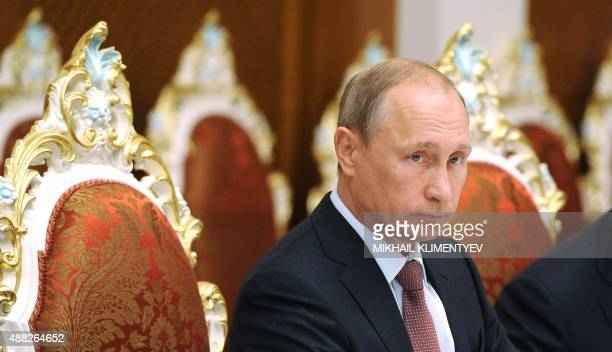 Russian President Vladimir Putin attends a meeting with his Tajikistan's counterpart in Dushanbe on September 15 2015 before a meeting of the...