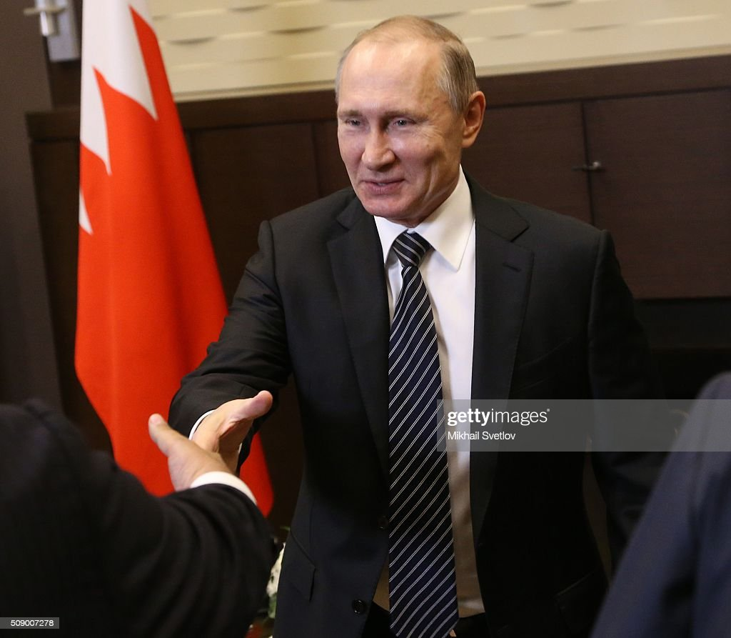 Russian President Vladimir Putin attends a meeting with King of Bahrain Hamad bin Isa bin Salman Al Khalifa (not pictured) in Bicharov Ruchey State Residence in Sochi, Russia, on February, 8, 2016. Bahrain's King is having a one-day visit to Black Sea resort of Sochi.