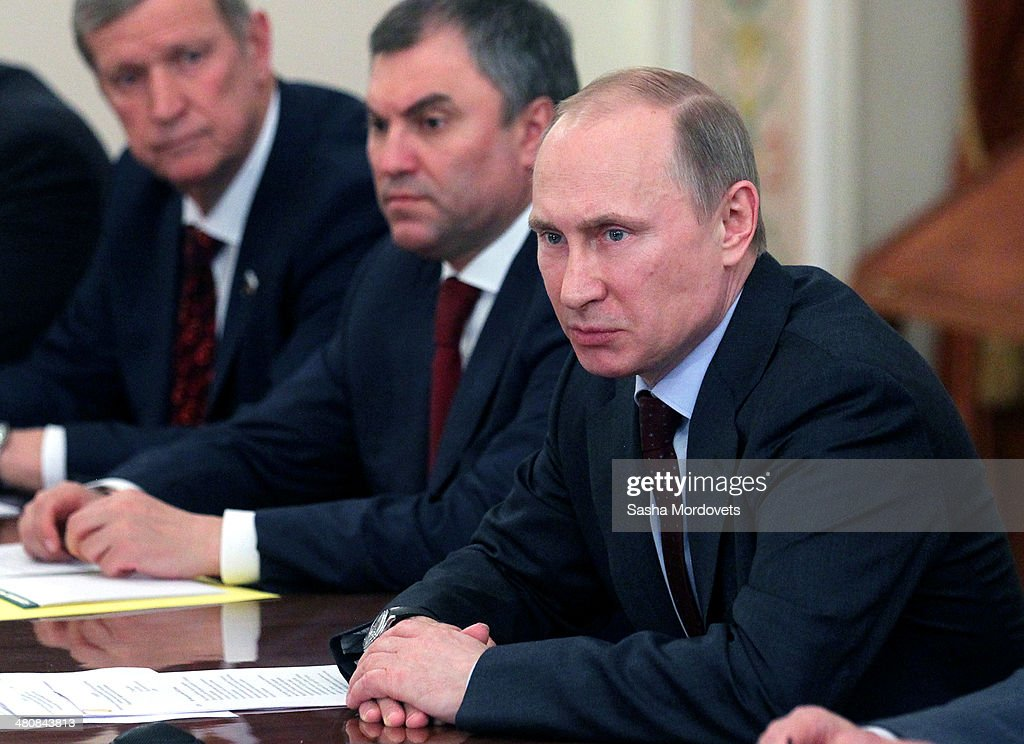Russian President <a gi-track='captionPersonalityLinkClicked' href=/galleries/search?phrase=Vladimir+Putin&family=editorial&specificpeople=154896 ng-click='$event.stopPropagation()'>Vladimir Putin</a> attends a meeting with members of the Council of the Federafion on March 27, 2014 in Moscow, Russia.