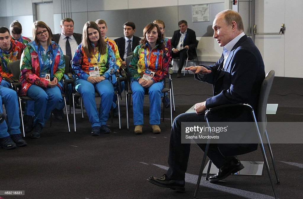 Russian President <a gi-track='captionPersonalityLinkClicked' href=/galleries/search?phrase=Vladimir+Putin&family=editorial&specificpeople=154896 ng-click='$event.stopPropagation()'>Vladimir Putin</a> attends a meeting with Sochi Winter Olympics 2014 volunteers on January 17, 2014 in Sochi, Russia. Putin has arrived to Sochi to inspect preparations for the Winter Olympics which take place from February 6 - 23.