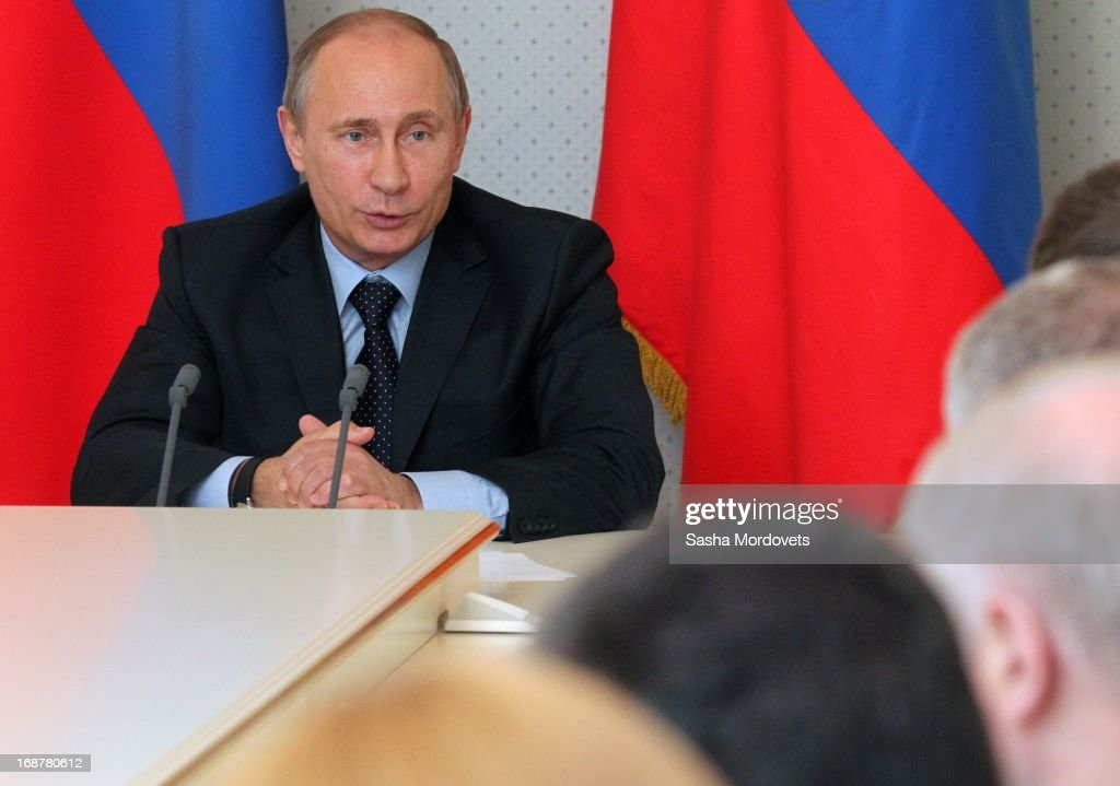 Russian President <a gi-track='captionPersonalityLinkClicked' href=/galleries/search?phrase=Vladimir+Putin&family=editorial&specificpeople=154896 ng-click='$event.stopPropagation()'>Vladimir Putin</a> attends a meeting with State Duma and parties leaders at Bocharov Ruchey state residence on May 15, 2013 in Sochi, Russia. Putin also met with Vietnam's Prime Minister Nguyen Tan Dung and held talks regarding bilateral cooperation between the two nations in oil and gas, technologies and tourism.