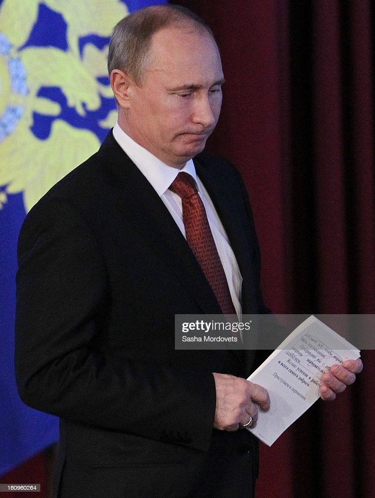 Russian President <a gi-track='captionPersonalityLinkClicked' href=/galleries/search?phrase=Vladimir+Putin&family=editorial&specificpeople=154896 ng-click='$event.stopPropagation()'>Vladimir Putin</a> attends a meeting with top officers of Russian Interior Ministry on February 8, 2013 in Moscow, Russia. Putin 's meeting comes in the wake of him firing of top Russian Olympic official, Akhmed Bilalov, over incomplete venues for the 2014 Winter Games in Sochi.