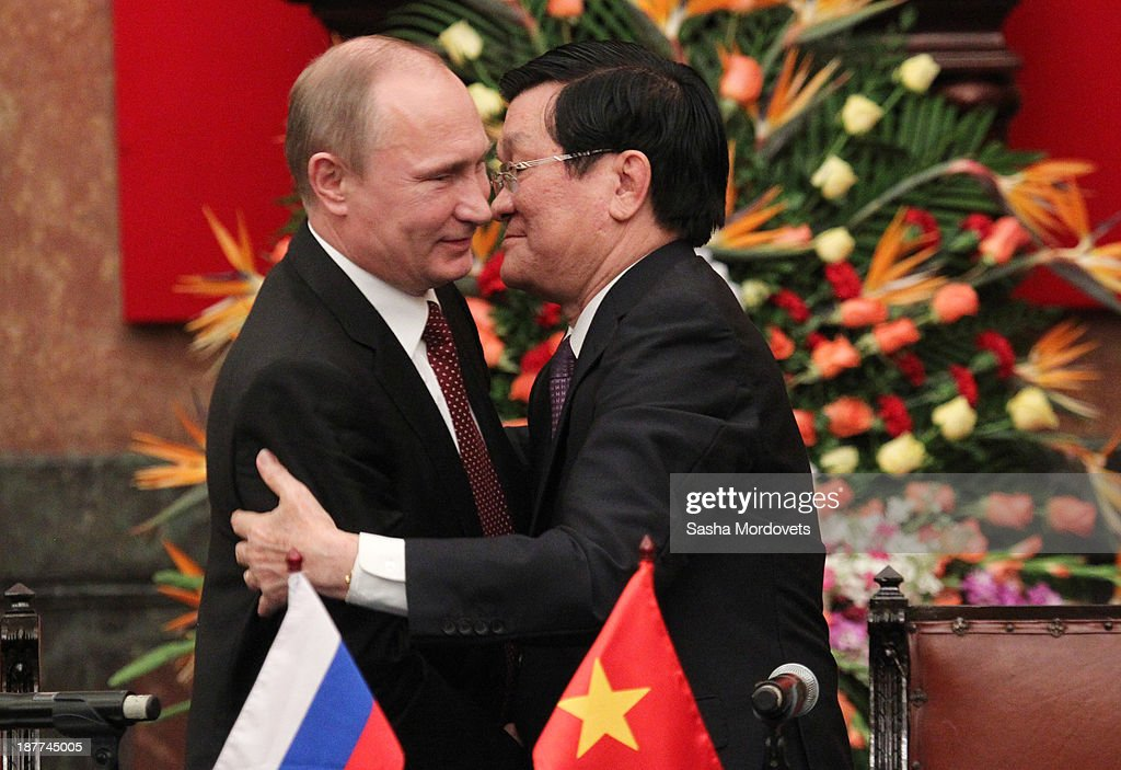 Russian President <a gi-track='captionPersonalityLinkClicked' href=/galleries/search?phrase=Vladimir+Putin&family=editorial&specificpeople=154896 ng-click='$event.stopPropagation()'>Vladimir Putin</a> (L) attends a meeting with Vietnamese President Truong Tan Sang on November 12, 2013 in Hanoi, Vietnam. Putin's one-day visit will concentrate on developing joint oil and gas exlporation interests.
