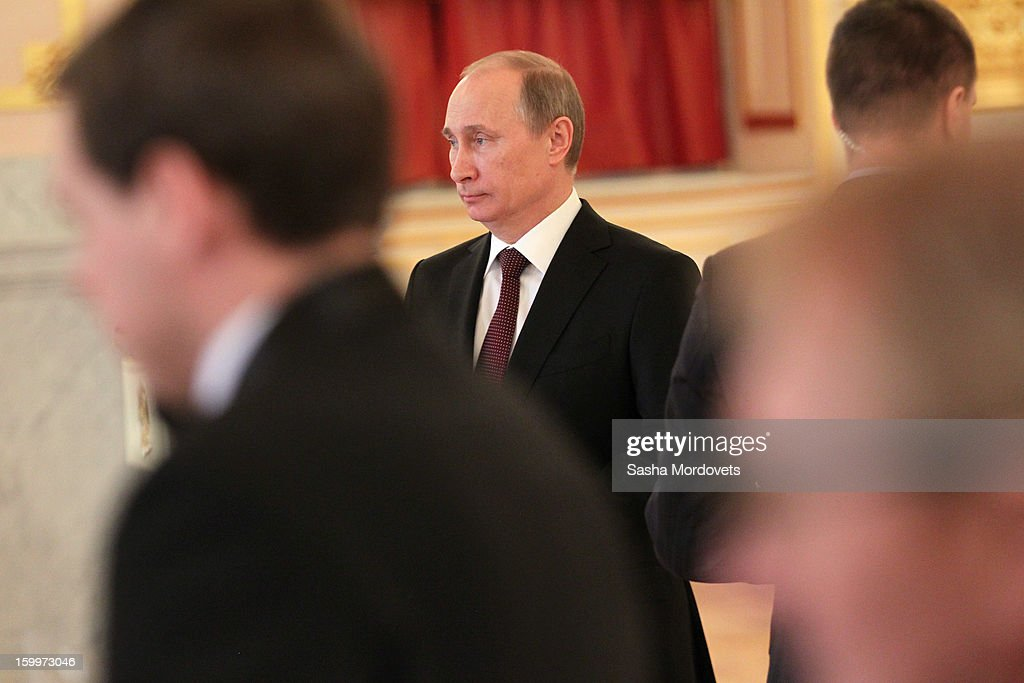 Russian President Vladimir Putin attends a reception for new ambassadors in the Alexander Hall of the Grand Kremlin Palace January 24, 2013 in Moscow, Russia. Putin received 20 new foreign ambassadors.