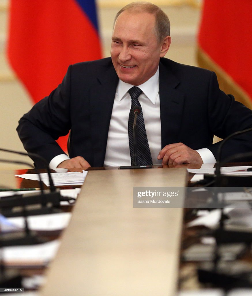 Russian President Vladimir Putin attends a weekly meeting with ministers of the government at the Novo Ogaryovo state residence October 29, 2014 in Moscow Russia.