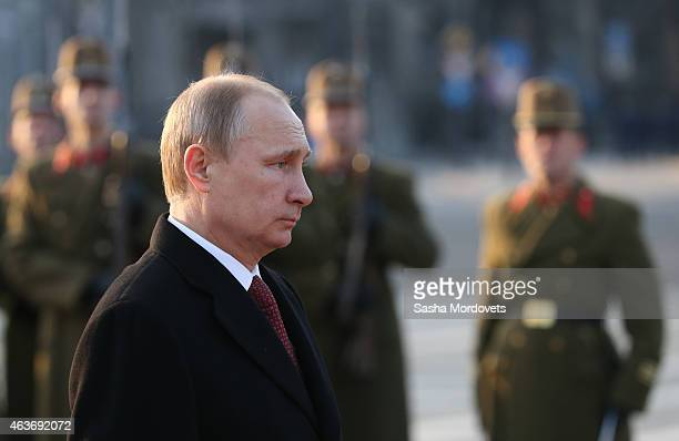 Russian President Vladimir Putin attends a wreath laying ceremony on February 17 2015 in Budapest Hungary Putin is in Budapest on a oneday visit his...