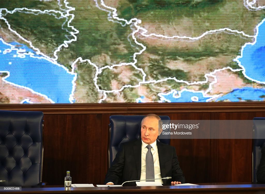 Russian President Vladimir Putin attends an annual meeting with high ranking officers of the Defence Ministry Board on December 11, 2015 in Moscow, Russia.. The President instructed that in undertaking its anti-terrorist operation in Syria, the Ministry of Defense must coordinate its actions with Israeli command and the US-led anti-Daesh coalition.