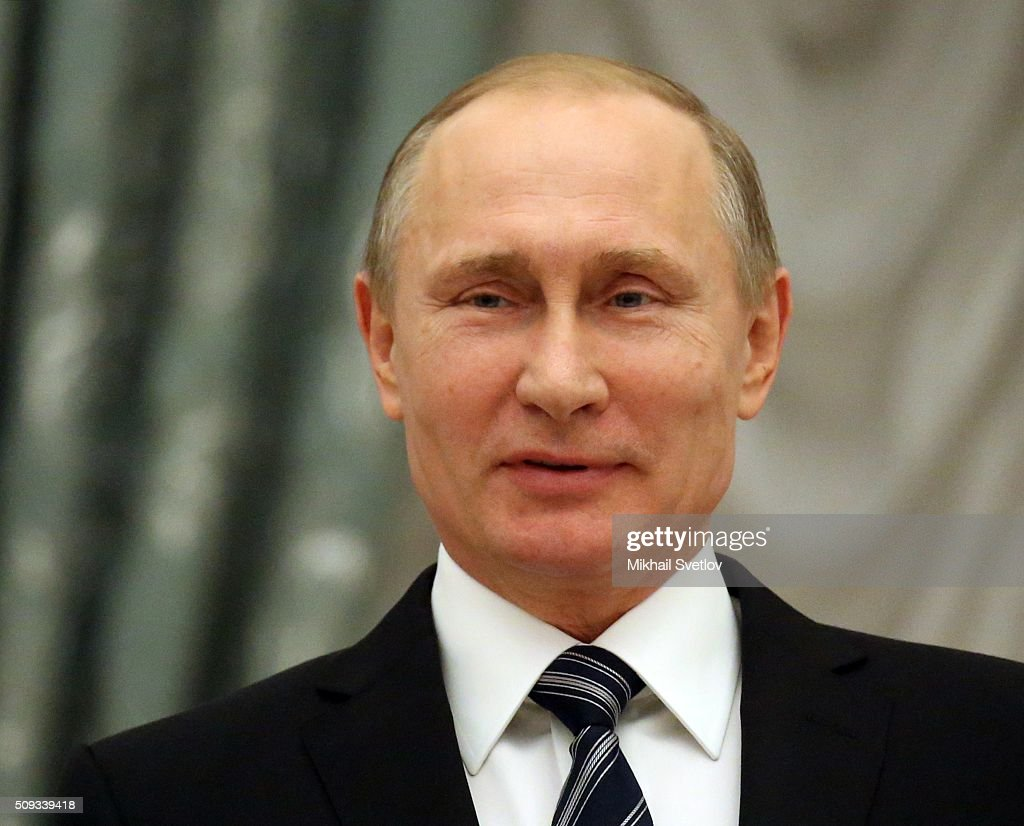 Russian President <a gi-track='captionPersonalityLinkClicked' href=/galleries/search?phrase=Vladimir+Putin&family=editorial&specificpeople=154896 ng-click='$event.stopPropagation()'>Vladimir Putin</a> attends an award ceremony at the Kremlin on February 10, 2016 in Moscow, Russia. Putin awarded three scientists during the reception.