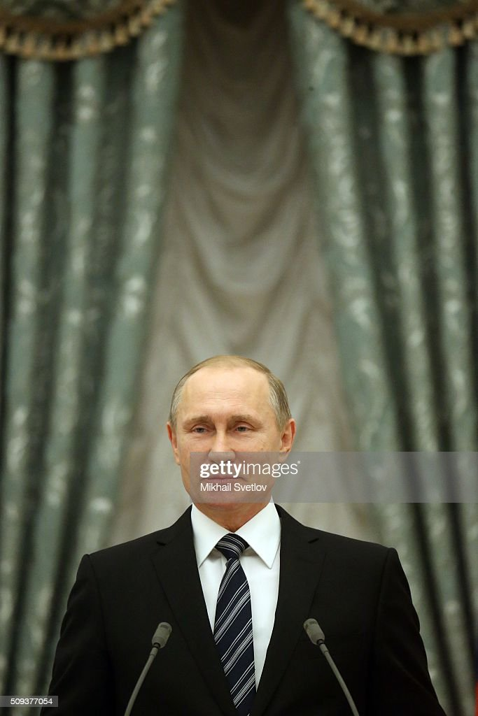 Russian President Vladimir Putin attends an award ceremony at the Kremlin on February 10, 2016 in Moscow, Russia. Putin awarded three scientists during the reception.