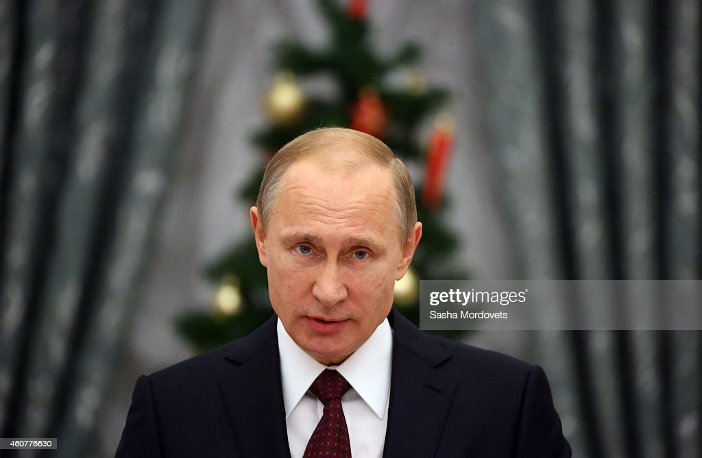 Russian President <a gi-track='captionPersonalityLinkClicked' href=/galleries/search?phrase=Vladimir+Putin&family=editorial&specificpeople=154896 ng-click='$event.stopPropagation()'>Vladimir Putin</a> attends an awards ceremony in the Kremlin on December 22, 2014 in Moscow, Russia.