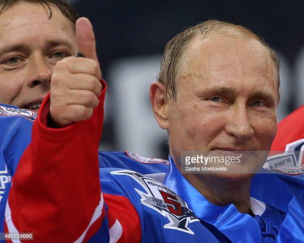 Russian President Vladimir Putin attends an ice hockey match of the Night Hockey League on October 7 2015 in Sochi Russia Putin spends his 63th...