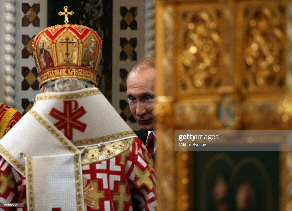Russian President Vladimir Putin attends an Orthodox Easter mass at the Christ The Saviour Catherdal, in Moscow, Russia, May,1, 2016. Russian President Vladimir Putin, Moscow Mayor Sergei Sobyanin, Prime Minister Dmitry Medvedev and his wife Svetlana took part an Orthodox Easter service held by Patriarch Kirill at the biggest Russian Orthodox Cathedral.
