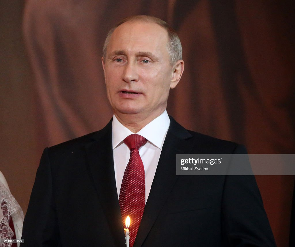 Russian President <a gi-track='captionPersonalityLinkClicked' href=/galleries/search?phrase=Vladimir+Putin&family=editorial&specificpeople=154896 ng-click='$event.stopPropagation()'>Vladimir Putin</a> attends an Orthodox Easter mass at the Christ The Saviour Catherdal, in Moscow, Russia, May,1, 2016. Russian President <a gi-track='captionPersonalityLinkClicked' href=/galleries/search?phrase=Vladimir+Putin&family=editorial&specificpeople=154896 ng-click='$event.stopPropagation()'>Vladimir Putin</a>, Moscow Mayor Sergei Sobyanin, Prime Minister Dmitry Medvedev and his wife Svetlana took part an Orthodox Easter service held by Patriarch Kirill at the biggest Russian Orthodox Cathedral.