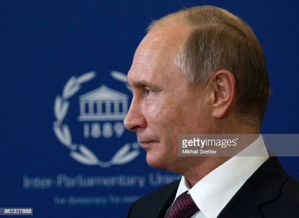 Russian President Vladimir Putin attends during the opening of 137th InterParliamentary Union Assembly on October 14 2017 in Saint Petersburg Russia...