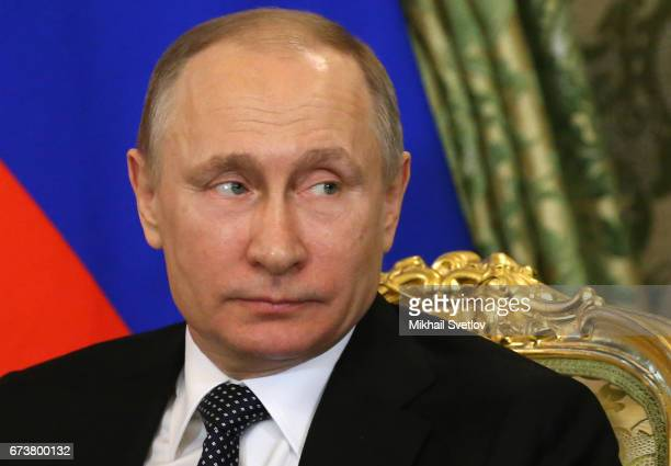 Russian President Vladimir Putin attends RussianJapanese talks at the Grand Kremlin Palace on April 2017 in Moscow Russia Shinzo Abe is having a...