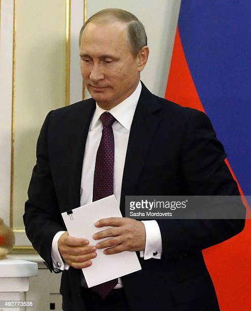 Russian President Vladimir Putin attends RussianKazakh talks in the Presidential Palace on October 15 2015 in Astana Kazakhstan Russian President...