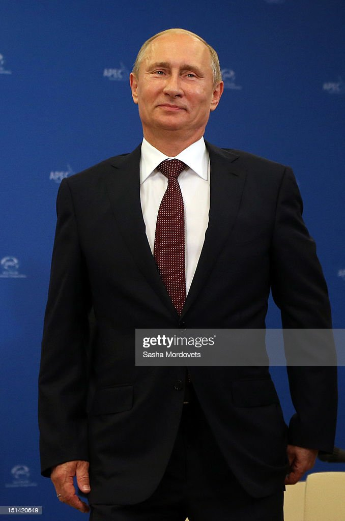 Russian President <a gi-track='captionPersonalityLinkClicked' href=/galleries/search?phrase=Vladimir+Putin&family=editorial&specificpeople=154896 ng-click='$event.stopPropagation()'>Vladimir Putin</a> attends the APEC (Asian-Pacific Economic Cooperation) Summit at Russky Island on September 7, 2012 in Vladivostok, Russia. The Asia Pacific Economic Cooperation meeting hosts 21 member economies of the Pacific region seeking to promote economic cooperation and free trade between member nations.