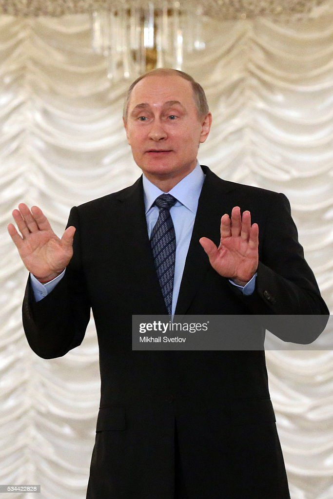 Russian President Vladimir Putin attends the Congress of Russian Literature and Society on May 26 2016 in Moscow Russia