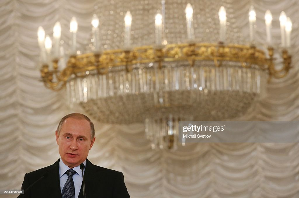 Russian President Vladimir Putin attends the Congress of Russian Literature and Society on May 26, 2016 in Moscow, Russia.