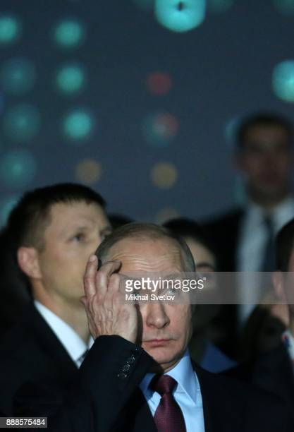 Russian President Vladimir Putin attends the first cargo loading ceremony while visiting the LNG plant in Sabetta sea port at Yamal peninsula in...