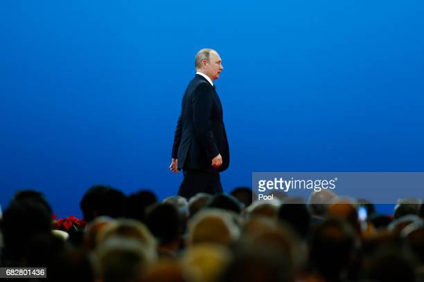 Russian President Vladimir Putin attends the opening ceremony of the Belt and Road Forum on May 14 2017 in Beijing China The Belt and Road Forum...