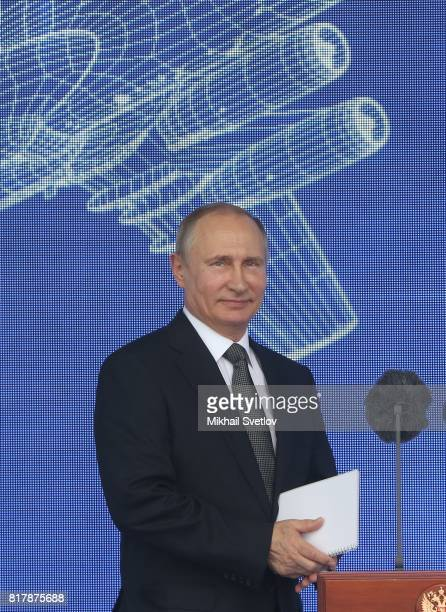Russian President Vladimir Putin attends the opening ceremony of the MAKS2017 International Aviation and Space Show July 18 2017 in Zhukovsky Russia