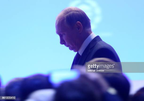Russian President Vladimir Putin attends the openings of 137th InterParliamentary Union Assembly on October 14 2017 in Saint Petersburg Russia Putin...