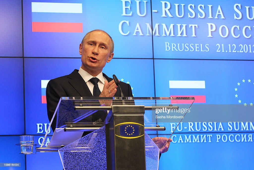 Russian President <a gi-track='captionPersonalityLinkClicked' href=/galleries/search?phrase=Vladimir+Putin&family=editorial&specificpeople=154896 ng-click='$event.stopPropagation()'>Vladimir Putin</a> attends the Russia-EU Summit on December 21, 2012 in Brussels, Belgium.
