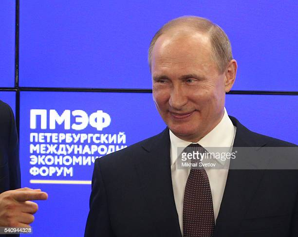 Russian President Vladimir Putin attends the Saint Petersburg International Economic Forum SPIEF2016 plenary meeting June 2016 in Saint Petersburg...
