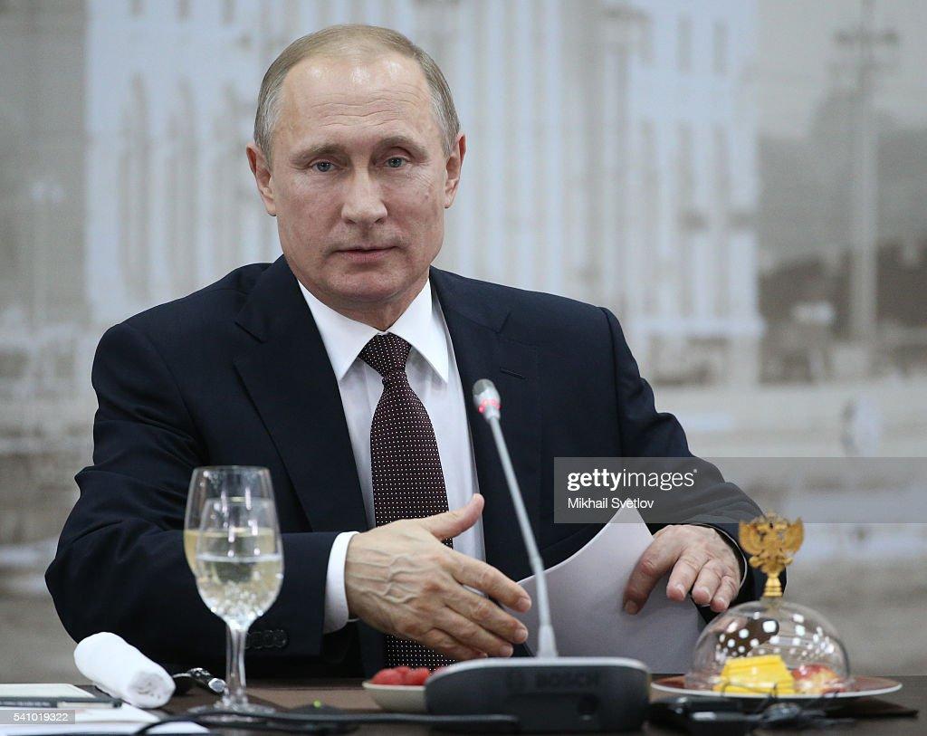 Russian President Vladimir Putin attends the Saint Petersburg International Economic Forum SPIEF2016 on June 17, 2016 in Saint Petersburg, Russia.