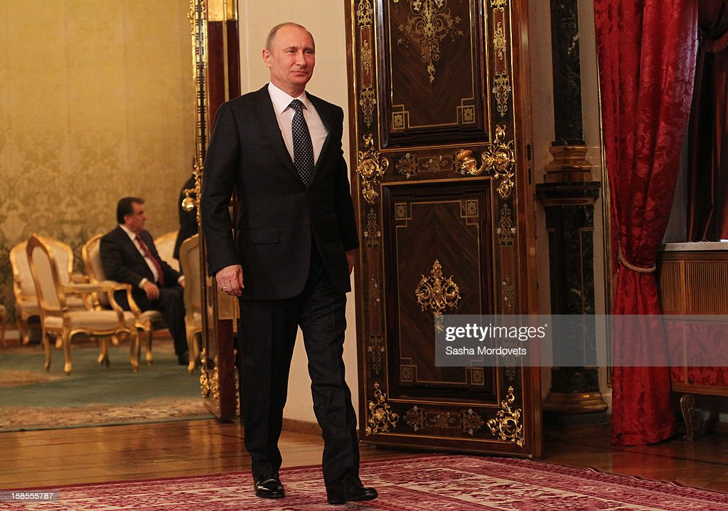 Russian President <a gi-track='captionPersonalityLinkClicked' href=/galleries/search?phrase=Vladimir+Putin&family=editorial&specificpeople=154896 ng-click='$event.stopPropagation()'>Vladimir Putin</a> attends the Summit of Collective Security Treaty Organisation (CSTO) on December 19, 2012 in Moscow, Russia. Leaders of Russia, Belarus, Kazakhstan, Kyrgyzstan and Armenia have gathered at the Kremlin in Moscow for the summit.