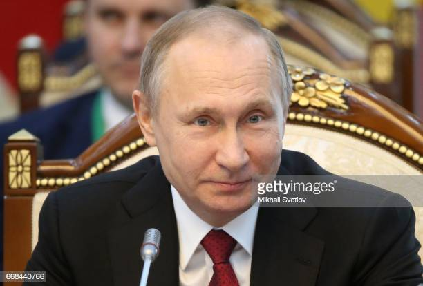 Russian President Vladimir Putin attends the Supreme Eurasian Economic Council of the Eurasian Economic Union meeting at the AlaArcha State residence...