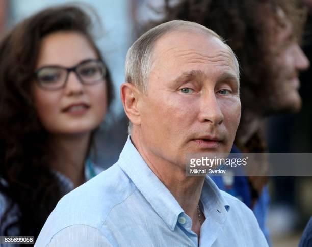 Russian President Vladimir Putin attends the Tavrida International Youth Forum August 20 2017 in Steregushcheye at Bakalskaya spit Crimea Vladimir...