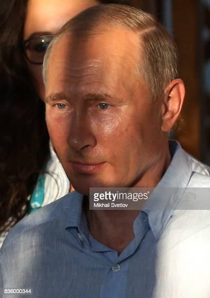 Russian President Vladimir Putin attends the Tavrida International Youth Forum in Steregushcheye at Bakalskaya spit Crimea August2017 Vladimir Putin...
