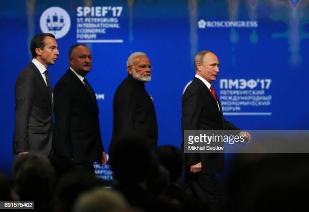 Russian President Vladimir Putin Austrian Chancellor Christian Kern Indian Prime Minister Narendra Modi and Moldovan President Igor Dodon arrive to...