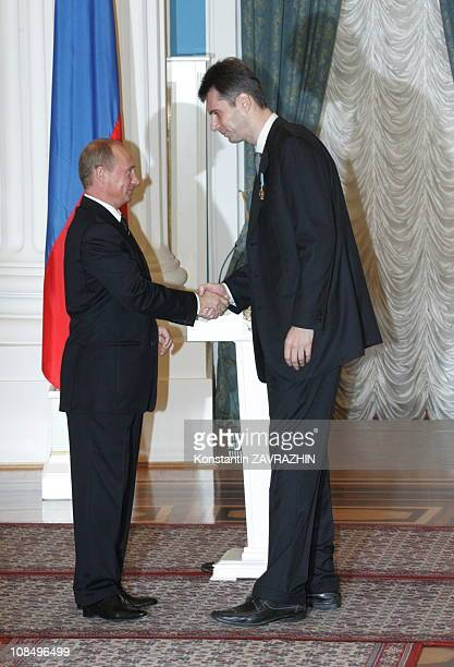 Russian President Vladimir Putin awards Mikhail Prokhorov CEO of the steel plant 'Norilski Nikel' in Kremlin Mikhail Prokhorov ranked 89 among The...