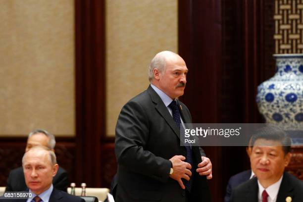 Russian President Vladimir Putin Chinese President Xi Jinping and Belarus President Alexander Lukashenko attend a summit at the Belt and Road Forum...