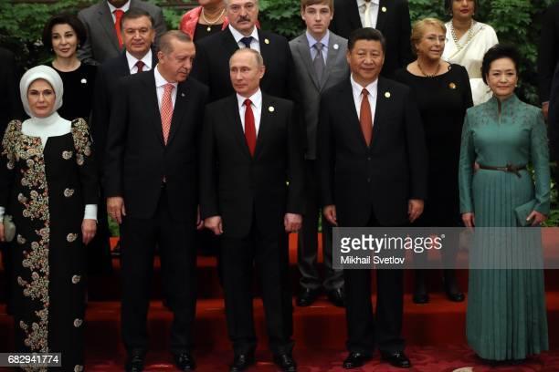 Russian President Vladimir Putin Chinese President Xi Jinping his wife Peng Liyan Turkish President Recep Tayyip Erdogan and his wife Emine Erdogan...